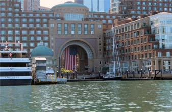 Classic Harbor Line Boston location at Rowes Wharf behind the Boston Harbor Hotel