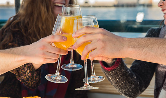Clinking Mimosas on a after wedding brunch cruise on yacht Northern Lights in Boston Harbor