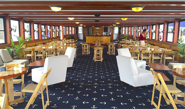 Interior of classic boat Northern Lights for a meeting or conference for a company who booked for a private event